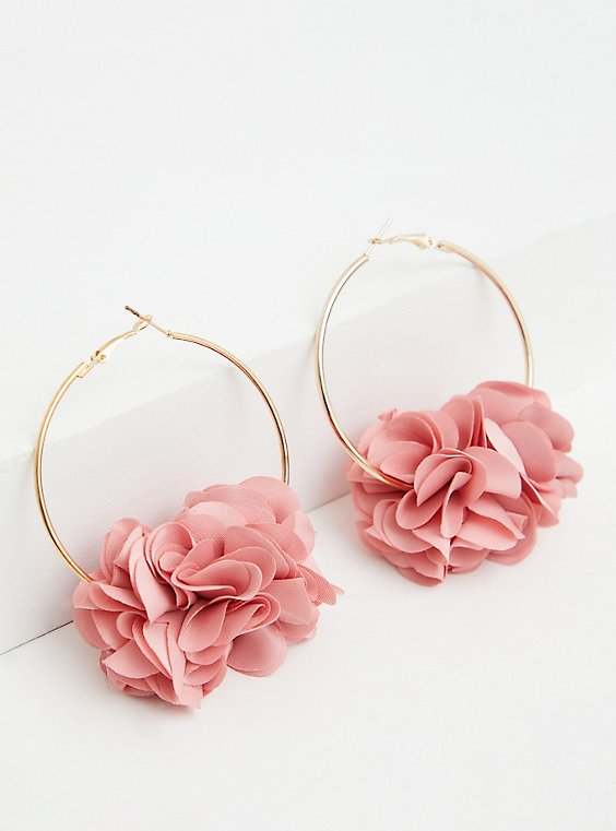 Light Pink Petal Hoop Earrings, , hi-res