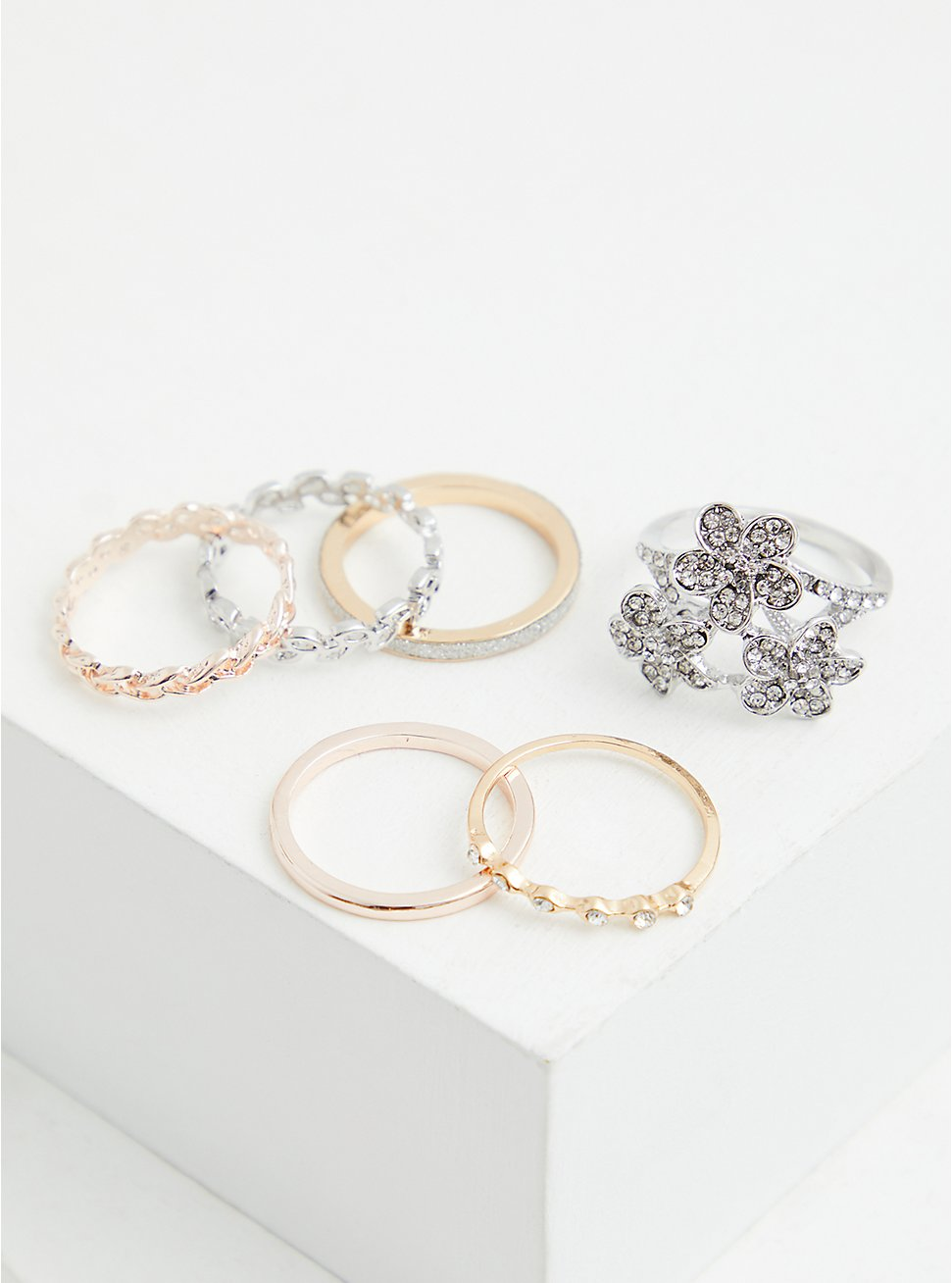 Mixed Metal Floral Stone Ring Set - Set of 6, MULTI, hi-res