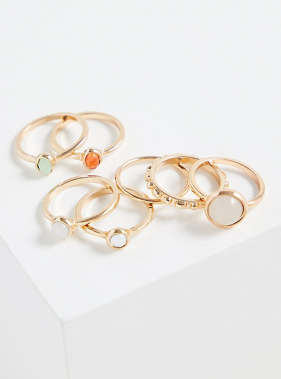 Gold-Tone Faux Opal Ring Set - Set of 7, MULTI, hi-res