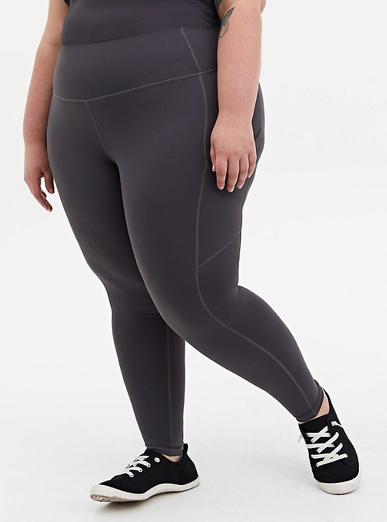 Dark Slate Grey Wicking Active Legging with Pockets, , hi-res