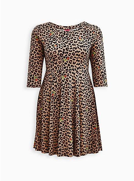 Betsey Johnson Leopard Ponte Mini Skater Dress, LEOPARD, hi-res