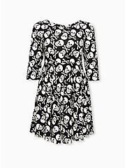 Betsey Johnson Black Skull & Bones Ponte Mini Skater Dress, SKULL - BLACK, hi-res