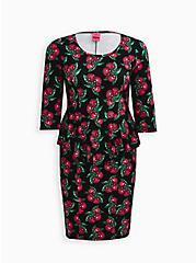 Betsey Johnson Black Cherry Print Ponte Peplum Dress, CHERRY  BLACK, hi-res