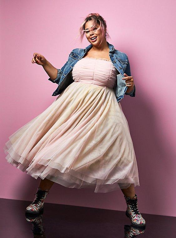 Betsey Johnson Rainbow Tulle Strapless Midi Dress , , hi-res