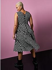 Betsey Johnson Black & White Polka Dot Poplin Fit & Flare Dress, BLACK-WHITE DOT, alternate