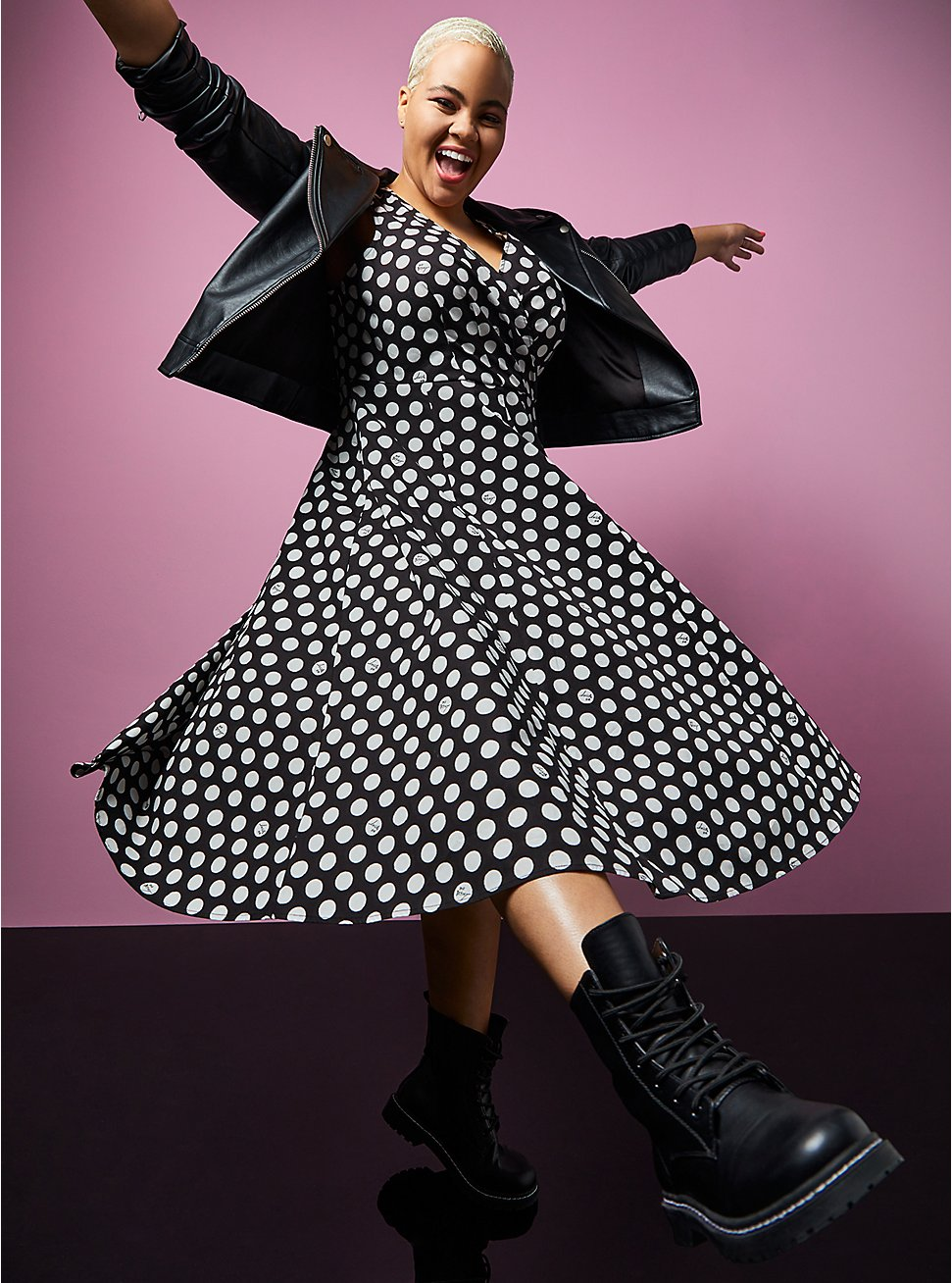 Betsey Johnson Black & White Polka Dot Poplin Fit & Flare Dress, BLACK-WHITE DOT, hi-res