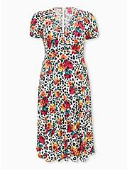 Betsey Johnson White Leopard Floral Challis Fit & Flare Midi Dress , LEOPARD ROSE, hi-res