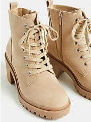 Beige Faux Suede Lace-Up Hiker Boot (WW), TAN/BEIGE, alternate