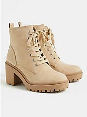 Beige Faux Suede Lace-Up Hiker Boot (WW), TAN/BEIGE, hi-res