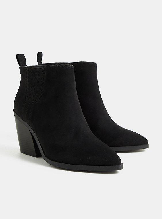 Black Faux Suede Chelsea Heel Bootie (WW), BLACK, hi-res