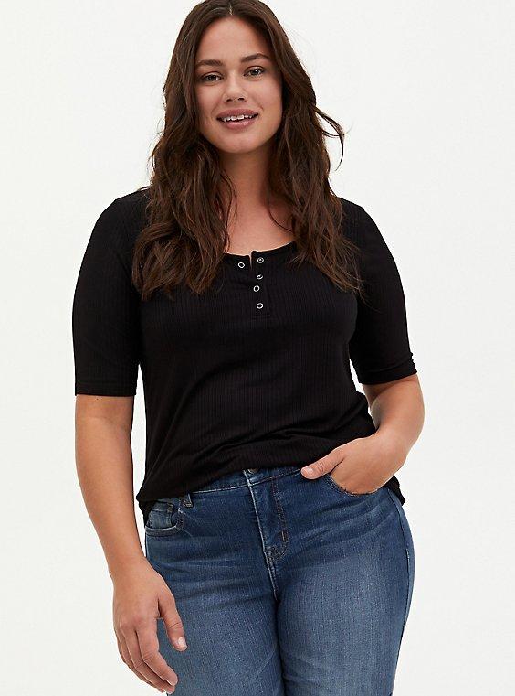 Plus Size Black Rib Henley Tee, , hi-res