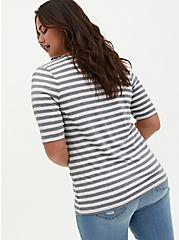 Grey & White Stripe Rib Henley Tee, BRIGHT WHITE, alternate