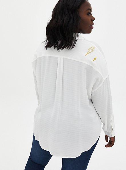 White Embroidered Lightning Bolt Drop Shoulder Shirt , CLOUD DANCER, alternate
