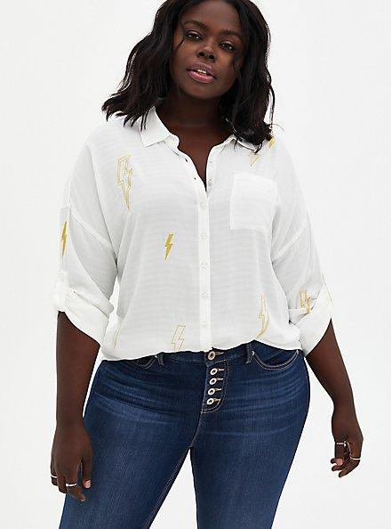 White Embroidered Lightning Bolt Drop Shoulder Shirt , CLOUD DANCER, hi-res