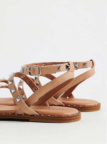 Plus Size Beige Faux Leather Studded Strap Sandal (WW), TAN/BEIGE, alternate
