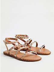 Beige Faux Leather Studded Strap Sandal (WW), TAN/BEIGE, alternate