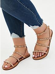 Beige Faux Leather Studded Strap Sandal (WW), TAN/BEIGE, hi-res