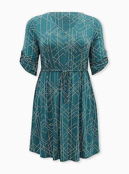 Super Soft Green Geometric Shirt Dress, GEOMETRIC, hi-res