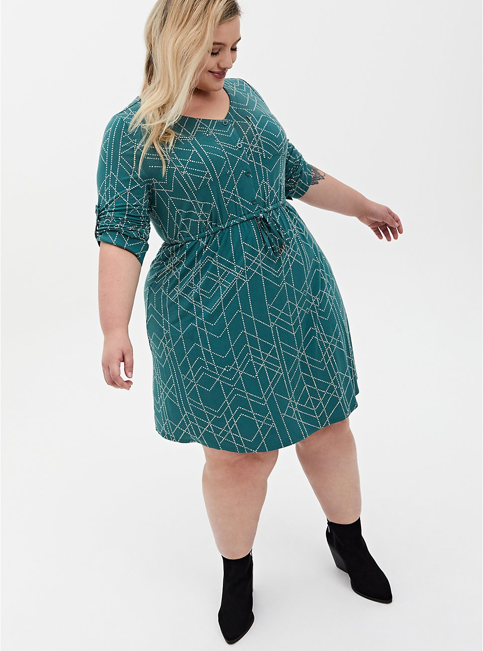 Super Soft Green Geometric Shirt Dress, GEOMETRIC, hi-res