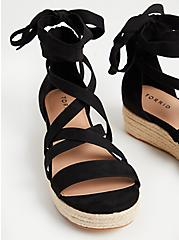 Black Faux Suede Ankle Wrap Flatform (WW), BLACK, alternate