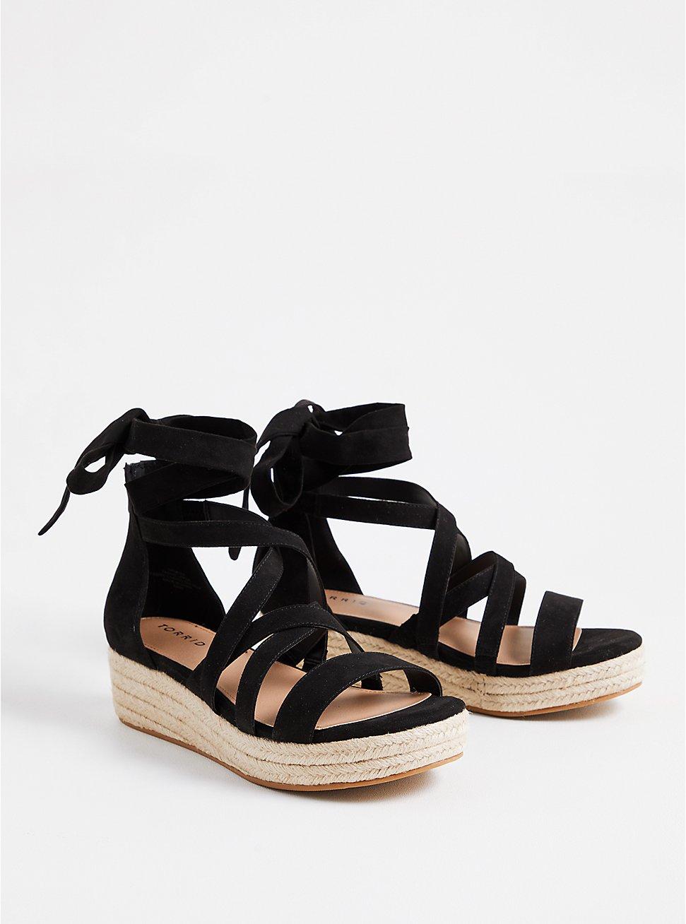 Black Faux Suede Ankle Wrap Flatform (WW), BLACK, hi-res