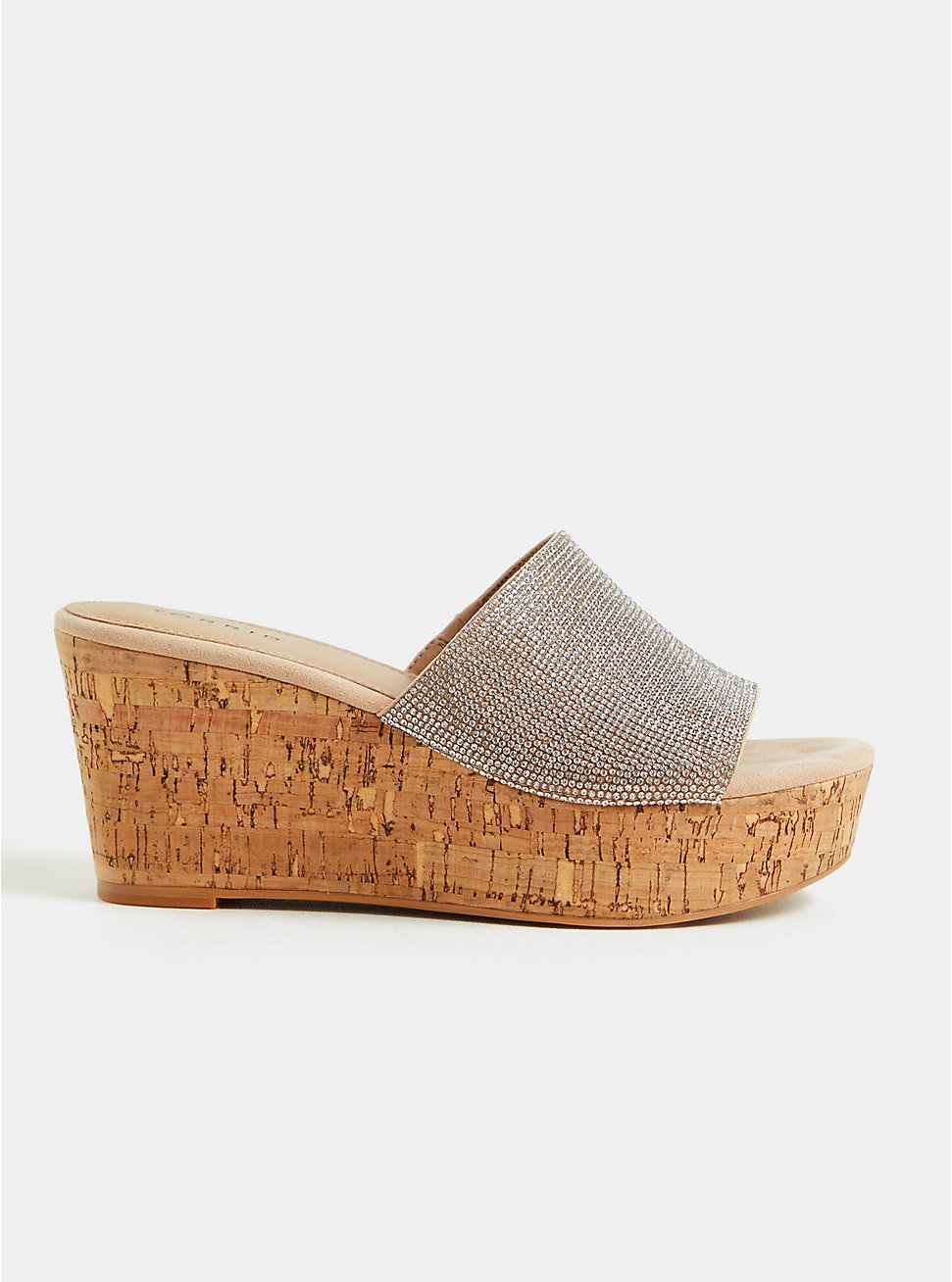 Beige Rhinestone Cork Wedge (WW), TAN/BEIGE, hi-res