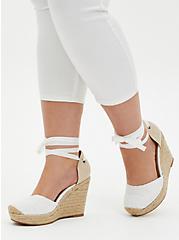 White Embroidered Ankle Wrap Espadrille Wedge (WW), WHITE, alternate