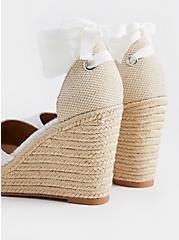 Plus Size White Embroidered Ankle Wrap Espadrille Wedge (WW), WHITE, alternate