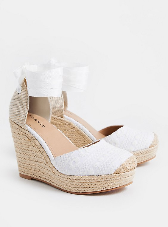 Plus Size White Embroidered Ankle Wrap Espadrille Wedge (WW), , hi-res