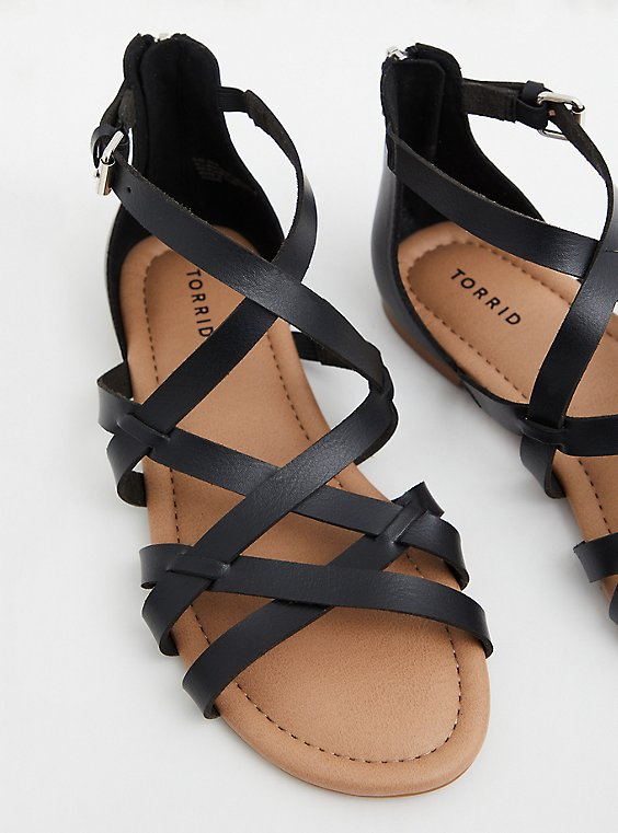 Black Faux Leather Gladiator Sandal (WW), , hi-res