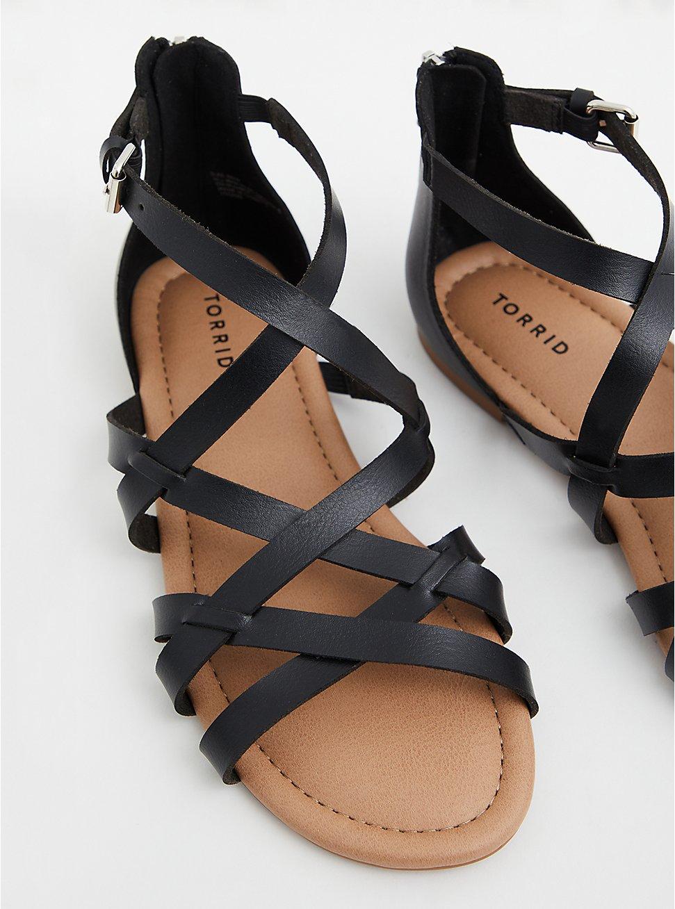 Black Faux Leather Gladiator Sandal (WW), BLACK, hi-res