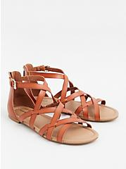 Cognac Faux Leather Gladiator Sandal (WW), COGNAC, alternate