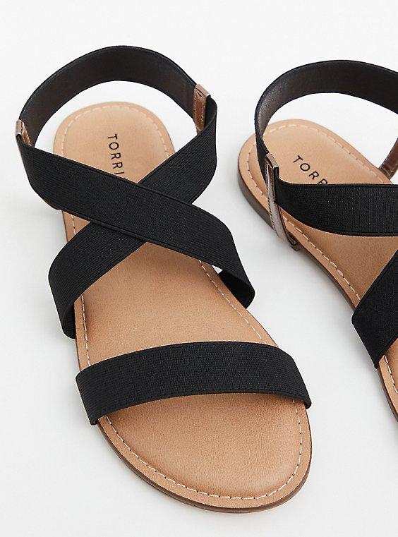 Black Stretch Band Sandal (WW), , hi-res
