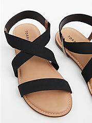 Black Stretch Band Sandal (WW), BLACK, hi-res