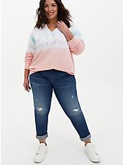 Multi Pastel Tie-Dye Terry Split Neck Sweatshirt, MULTI, alternate