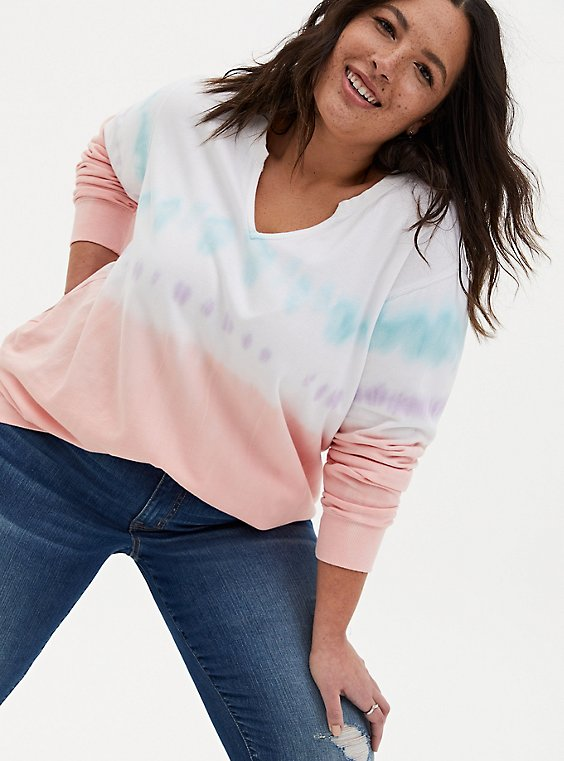 Multi Pastel Tie-Dye Terry Split Neck Sweatshirt, MULTI, hi-res