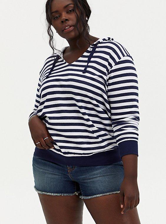 Plus Size Navy & White Stripe Hoodie, , hi-res
