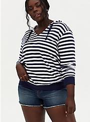 Navy & White Stripe Dip-Dye Hoodie, MULTI, hi-res