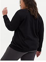 Black Terry Split Neck Sweatshirt, DEEP BLACK, alternate