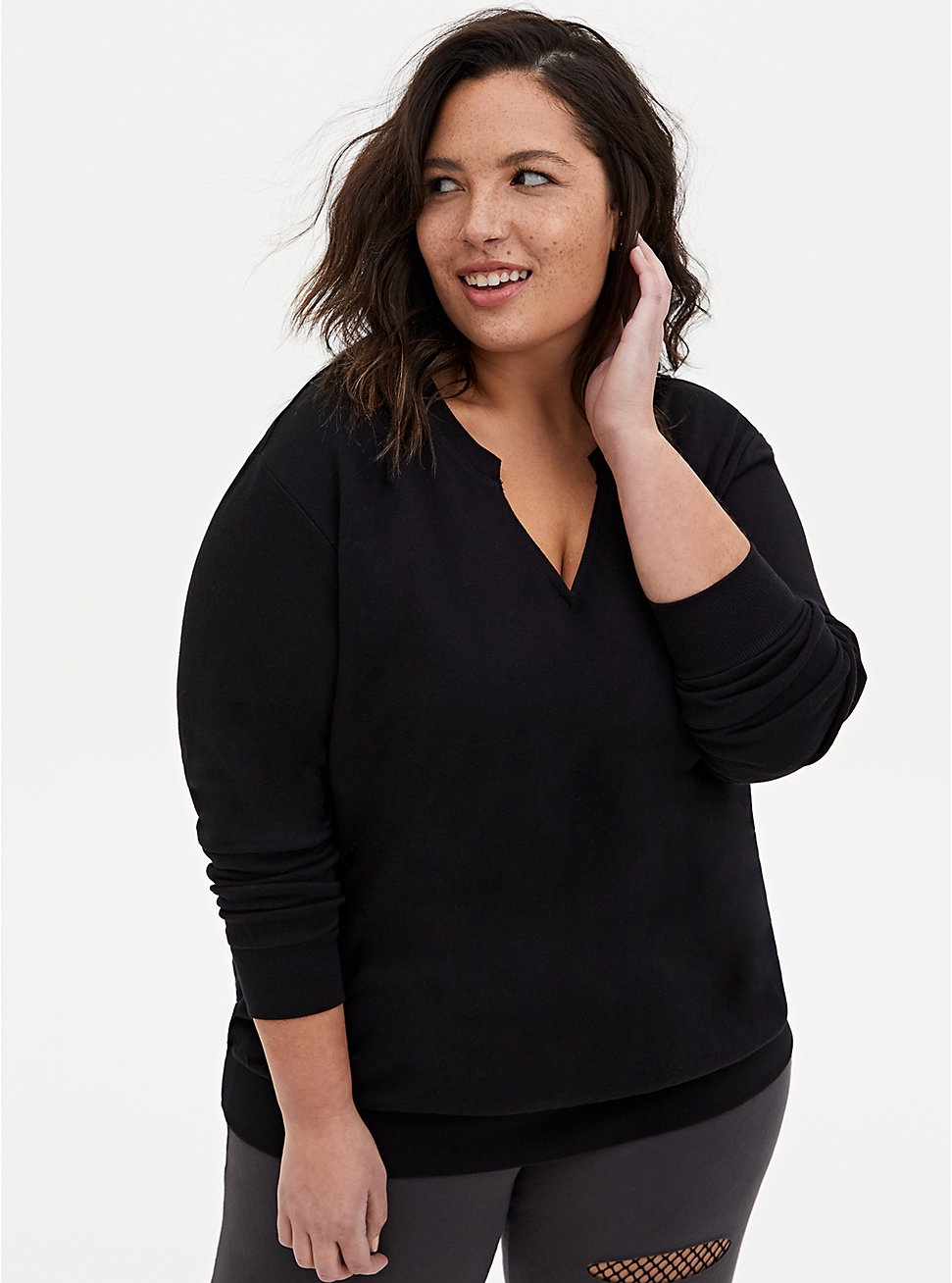 Black Terry Split Neck Sweatshirt, DEEP BLACK, hi-res