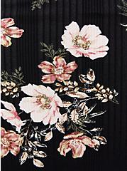 Black Floral Rib Shirred Hem Babydoll Top, OTHER PRINTS, alternate
