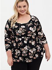 Black Floral Rib Shirred Hem Babydoll Top, OTHER PRINTS, hi-res