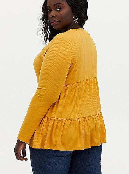 Golden Yellow Rib Shirred Hem Babydoll Top, GOLD, alternate