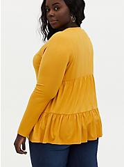 Golden Yellow Rib Shirred Hem Babydoll Top, GOLD, alternate