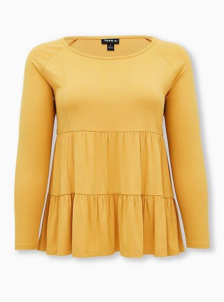 Golden Yellow Rib Shirred Hem Babydoll Top, GOLD, hi-res