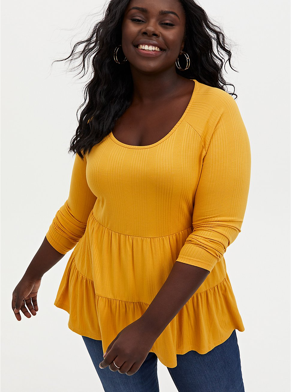 Golden Yellow Rib Shirred Hem Babydoll Top, GOLD, hi-res