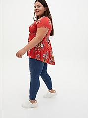 Super Soft Cranberry Red Floral Button Front Babydoll Tee, OTHER PRINTS, alternate