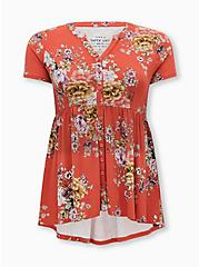 Super Soft Cranberry Red Floral Button Front Babydoll Tee, OTHER PRINTS, hi-res