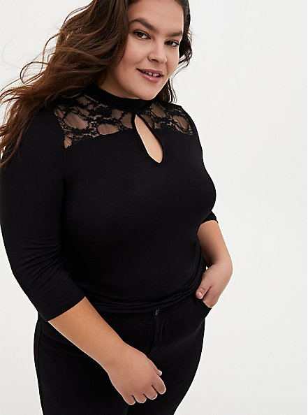 Super Soft & Lace Black Keyhole Mock Neck Top , DEEP BLACK, alternate