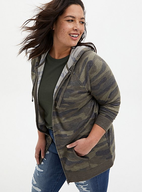 Camo French Terry Tunic Zip Hoodie, , hi-res